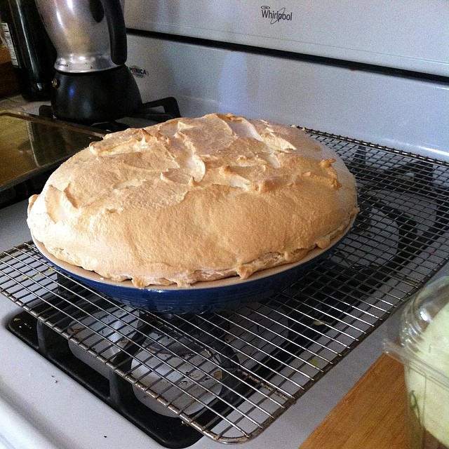 Lemon meringue pie just out of oven!