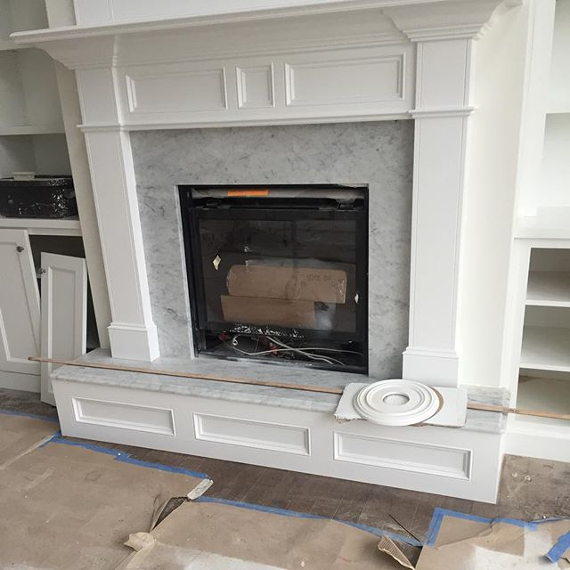 They finished the fireplace trim